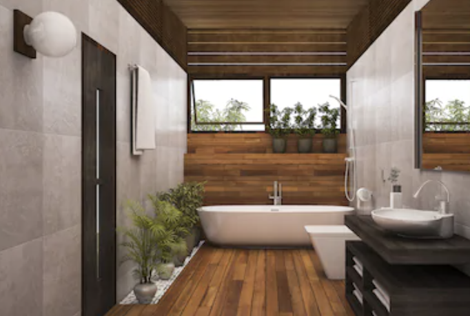 wooden floors added to bathroom remodeling spring hill FL